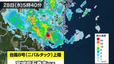 Photo of <速報>台風8号 宮城県石巻市付近に上陸 宮城県への上陸は統計史上初 2021年の台風情報 – ウェザーニュース